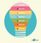Infographic design template. Light bulb with colorful infographics paper template, vector illustration.
