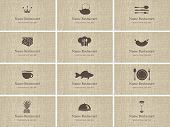 stock photo of plate fish food  - set of business cards on food and drink - JPG