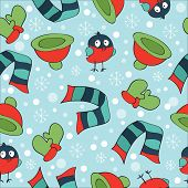 Christmas theme, with bullfinch, mittens, scarves, hats and snowflakes, seamless pattern