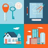 foto of key  - Retro Real Estate Symbols Private house Construction Plan Keys Set City Apartment Icons Trendy Modern Flat Design Template Vector Illustration - JPG