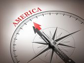 Abstract Compass Needle Pointing The Destination America poster
