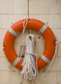 Life buoy with rope.