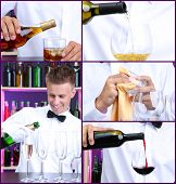 Bar collage. Bartender pouring alcohol drinks into glass