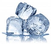 image of cube  - Three ice cubes on white background - JPG