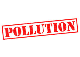 image of noise pollution  - POLLUTION red Rubber Stamp over a white background - JPG