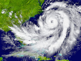 stock photo of hurricane wind  - Huge hurricane over Florida and Cuba. Elements of this image furnished by NASA