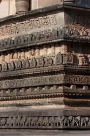 picture of belur  - Intriate carvings on ancient hindu temple wall - JPG