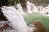 Top vfiew of Datian Waterfall In China.