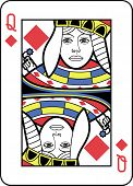 Stylized Queen of Diamonds with strong outline