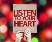 Listen To Your Heart card with colorful background with defocused lights
