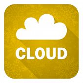 cloud flat icon, gold christmas button
