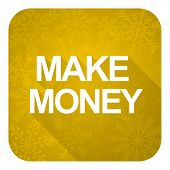 make money flat icon, gold christmas button