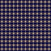 Gold Hanukkah Star Over Dark Blue Seamless Pattern