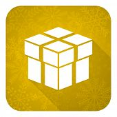 box flat icon, gold christmas button