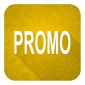 promo flat icon, gold christmas button