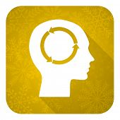 head flat icon, gold christmas button, human head sign