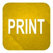 print flat icon, gold christmas button