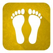 foot flat icon, gold christmas button