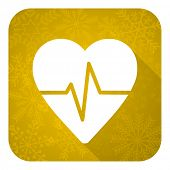 pulse flat icon, gold christmas button, heart rate sign