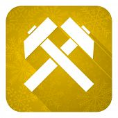 mining flat icon, gold christmas button