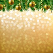 Golden Bokeh With Fir Tree Border With Gradient Mesh, Vector Illustration