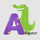 Alligator With Letter A With Gradient Mesh, Vector Illustration