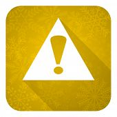 exclamation sign flat icon, gold christmas button, warning sign, alert symbol