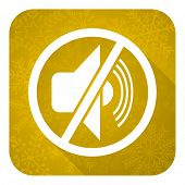 mute flat icon, gold christmas button, silence sign
