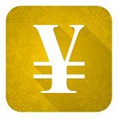 yen flat icon, gold christmas button