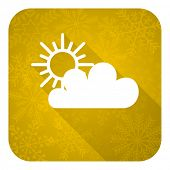 cloud flat icon, gold christmas button, waether forecast sign