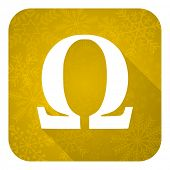 omega flat icon, gold christmas button