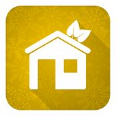 house flat icon, gold christmas button, ecological home symbol