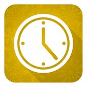 time flat icon, gold christmas button, watch sign