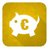 piggy bank flat icon, gold christmas button
