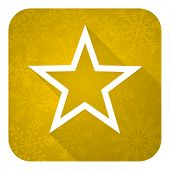 star flat icon, gold christmas button