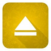 eject flat icon, gold christmas button, open sign