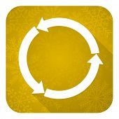 refresh flat icon, gold christmas button, reload flat icon, gold christmas button