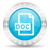 doc file icon, christmas button