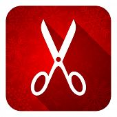 scissors flat icon, christmas button, cut sign