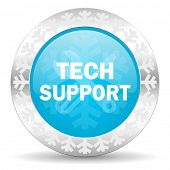 technical support icon, christmas button