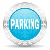 parking icon, christmas button