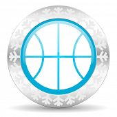 ball icon, christmas button, basketball sign