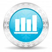 bar chart icon, christmas button