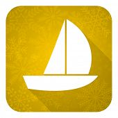 yacht flat icon, gold christmas button, sail sign