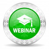 webinar green icon, christmas button