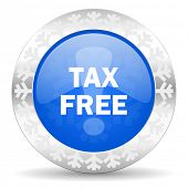 tax free blue icon, christmas button