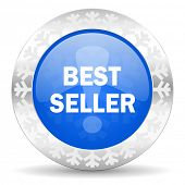best seller blue icon, christmas button