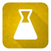 laboratory flat icon, gold christmas button