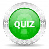 quiz green icon, christmas button