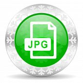 jpg file green icon, christmas button